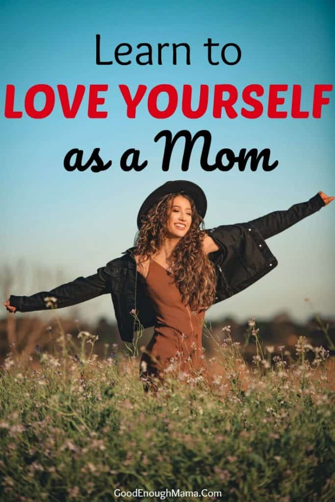 mom practicing self love walking in a field