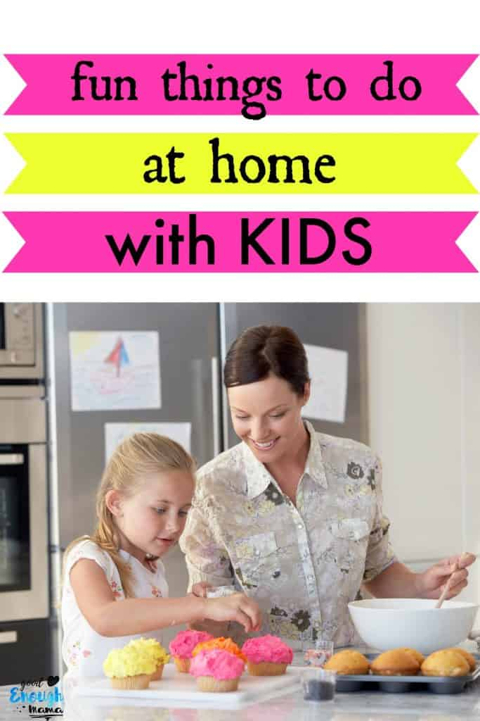 mom at home with kids baking