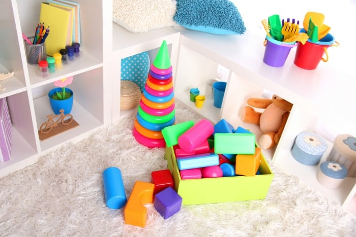 organized toys in living room toy corner